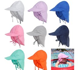 Wholesale uv soft - Summer Newborn Sun Cap Unisex Baby Kids Bucket Hat UV Protection Hat Outdoor Soft Beach Hat Neck Ear Cover Flap Cap KKA5084