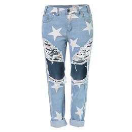 Wholesale Vintage Hot Pants - Hot Summer Woman Vintage Holes Ripped Jeans Denim Blue White Trousers Women Pencil Pants Size S-2XL