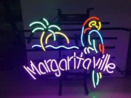 Signos margaritaville online-New Star Neon Sign Factory 17X14 pulgadas Real Glass Lámpara de señal de neón para Beer Bar Pub Garage Room Margaritaville.
