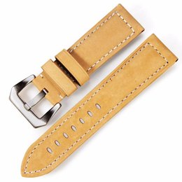 Correa de reloj pam online-Scrub Genuine Leather manual correa de cuero genuino correa de reloj marrón impermeable adecuado para relojes PAM 22 mm 24 mm 26 mm