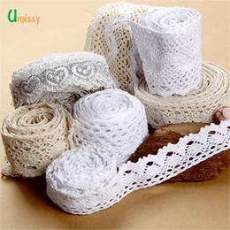 Tecido de malha crocheted on-line-1 metro 100% Algodão Tecido de Renda Bordado Guarnição Crocheted Lace Tecido Fita Handmade Costura Accessaories