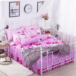 camisa multi camo Rebajas Hello Kitty - Juego de 4 camas con falda de cama Juego de cama Ropa de cama Sábanas para cama Funda nórdica Funda de almohada Funda de almohada