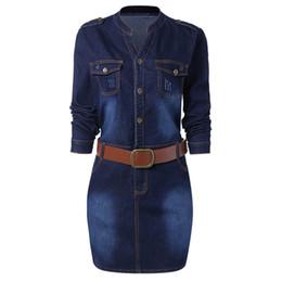 2019 plus größe boden bank bank kleider Wipalo Plus Größe 5XL ausgestattet Denim Jean Kleid mit Gürtel Frauen Mantel Stehkragen mit langen Ärmeln Kleider Vestidos kausalen Kleid