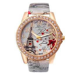 Кварцевые часы eiffel онлайн-Splendid Vintage Paris Eiffel Tower Women's Quartz Watch Women Girls Ladies Students Casual Diamond Wristwatch Female Relojes
