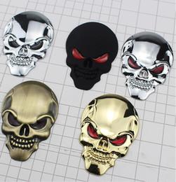 Autocollants de corps de moteur en Ligne-Halloween Autocollant De Voiture Squelette Skull Bone 3D Métal Chrome Moteur De Voiture Logo Emblème Badge Autocollant Decal UPS DHL