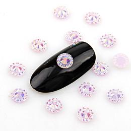 Flores de resina de arte de uñas online-Nueva moda 5 mm Nail Resina Rhinestone Nail Art decoración de la flor del sol sobre 1000 unids 15 colores para DIY arte decoraciones