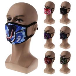Máscaras de respiração boca Tubarão impressão Anti-Fog Flu Máscaras de desenhos animados de algodão homens e mulheres personalidade máscara de