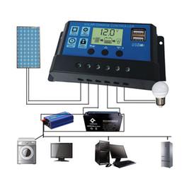 Wholesale solar panels 12v 24v - 10 20 30A Dual USB Solar Panel Battery Regulator Charge Controller 12V 24V Output Charger