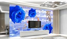 Blaue blumenmalereien online-3D Wandbild Tapete Blau verbietet rose flower vine Tapeten Wohnkultur Wohnzimmer 3D Tapete Für Kinderzimmer