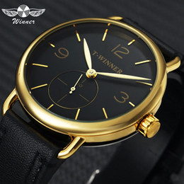 40b114b0380 VENCEDOR Top Marca de Luxo Relógio de Ouro Mecânico Homens Pulseira De  Couro Trabalho Sub-dial Moda Concise Ultra Fino Relógios de Pulso Homem  desconto ...