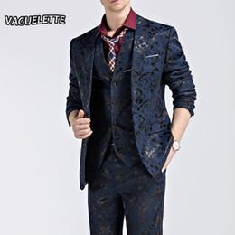 (Blazer + Pants + Vest) Traje de hombre de moda Shine Pattern Luxury Men  Stage Wear para cantante Slim Fit trajes para hombre Wedding Clothes M-3XL  ropa de ... b09d298211f