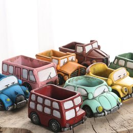 Wholesale Cars Candy - Cute Succulent Plants Candy Color Flowerpot Solid Cement Fashion Garden Pot Various Classical Car Shape Living Room Garden Pots 5cr Y