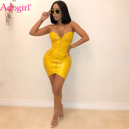 2019 robe de princesse royale médiévale Adogirl Women Sexy Strapless PU Leather Club Dress Solid Yellow Red Gold Zipper Front Bodycon Mini Party Dresses Vestidos Mujer