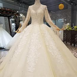 2019 hinzufügen von ärmeln kleid Champagner Muslim Brautkleider Stehkragen Lange Ärmel Öffnen Schlüsselloch Zurück Hinzufügen Futter Bodenlangen Kleider Ballkleid