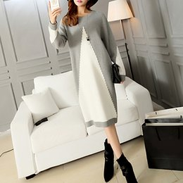 Wholesale Plain Pullover Sweater - Autumn Winter Dress Women Sweater Gray White Patchwork Long Sleeve Casual Midi Dress Elegant Knit Pullover 2017 Plain vestidos
