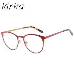 70449546a7 Kirka Metal Cute Young Type Women Cat Eye Eyeglasses Frames for Female Red  Color Stainless Steel High Quality
