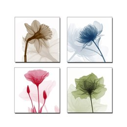Wholesale framed flower pictures - HD Vintage Home Decoration 4 Pieces Love Purple Flowers Framework Pictures Paintings On Canvas Posters And Prints On The WallPainting Popula