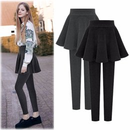 Wholesale Leggings Skirt L - Leggings Winter pants female wear underwear plus velvet thick pleated skirt pants 6xl Fake two pieces of warm large size