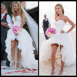 Wholesale Corset Dress Tea Length - Beach Wedding Dresses 2017 High Low Sweetheart Corset Lace-up A-Line Ruffled Organza Summer Beach Hi-Lo Bridal Gowns