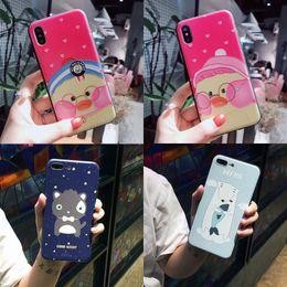2019 ententelefonkoffer Für Iphone X Phone Cases Pink Cheeked Ente Eisbär Cartoon Frosted New Handy-Fall für Iphone 6 7 8 Plus günstig ententelefonkoffer