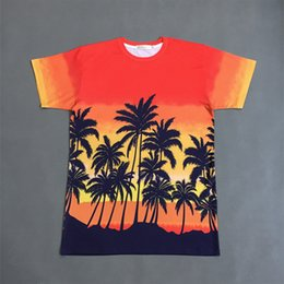 Wholesale Orange Coconut - Coconut Palm Print Summer Tee Shirt Bigbang Tour Hip Hop T Shirt New Designer Ombre Short Sleeve Casual Shirt Beach Top YJG1207