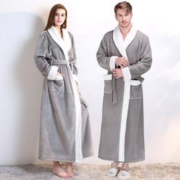 921c251903 Women Men Thick Warm Kimono Bathrobe Lovers Nightwear Sexy Robe Winter Soft  Flannel Sleepwear Long Sleeve Home Dressing Gown