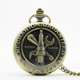 Wholesale Old Bronzes - Old Bronze Antique Mechanic Guaranteed Performance Them 3D Super Tuned Words Design Pocket Watch Pendant PB367