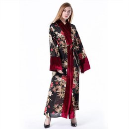 ropa de mujer árabe Rebajas Terciopelo musulmán costura Cárdigan flojo Túnica de terciopelo Ropa islámica Mujer Túnica abierta Turco Dubai Árabe Malasia Vestido Hijab floral rojo