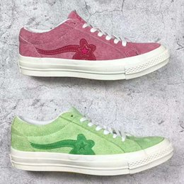 Wholesale Classic Leather Golf Shoes - TTC The Creator x One Star Ox Golf Le Fleur Wang Jade Lime Green Suede Geranium Pink Sunflower Yellow Vanilla Men women Casual Skate Shoes