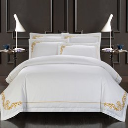Wholesale Hotel Duvet Covers - Svetanya Cotton Tribute Silk White Bedding Set Yellow Embroidered Hotel Duvet Cover Set King Queen Size with Bedsheet Pillowcase