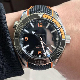 Wholesale master strap - Hot Luxury Mens Watch OM SEA MASTER Series black face High Quality AAA 215.32.44 Automatic Movement Original Strap Sapphire Watches