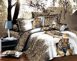 Wholesale Tiger Comforter Set Queen Adult - 3D Bedclothes Tiger 4pcs Bedding Sets King Or Queen Reactive Print