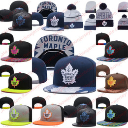 Wholesale one leaf - Toronto Maple Leafs Snapback Caps Embroidery Ice Hockey Knit Beanies Adjustable Hat Black Blue Gray White Stitched Hats One Size for All