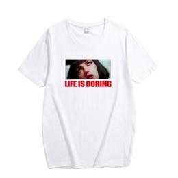 Женские белые футболки онлайн-Life is Boring Letters Print Women Cotton Tshirts 3XL Plus Size Summer Novelty Tee Shirt Harajuku White Female T-shirt Femme