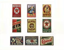 Wholesale free garages - Free shipping Motor Oils Garage Castrol Gilmore Gasoline Vintage sign Decorative Retro Metal Poster Tin Sign