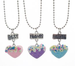 Wholesale Kids Jewelry Set Silver - 3 pcs set Heart Shaped Biscuits Cookies Pendant Necklaces Letters Best Friends Forever Cool Necklace Gift For Kids Girl BFF Jewelry