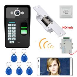 Système de verrouillage sans fil en Ligne-HD 720 P Sans Fil WIFI RFID Mot de passe Reconnaissance D'empreintes Digitales Vidéo Porte Téléphone Sonnette Système D'interphone + Électrique Strike Lock +