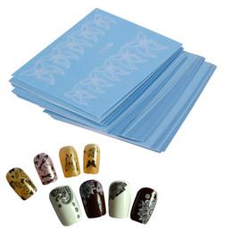 Chiodo arte fiori bianchi neri online-48 fogli Fiori Pizzo Nail Sticker Nail Art Water Transfer Decalcomanie Adesivi Suggerimenti Nero / Bianco Manicure Decor Tools
