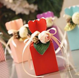 vasi bianchi blu nozze Sconti 50pcs bella scatola di caramella di cerimonia nuziale di forma di vaso blu di Tiffany con la festa di compleanno del fiore della rosa del PE bianco
