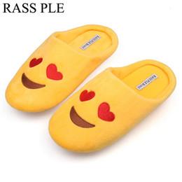 Scarpe da pavimento online-Pantofole da donna per pavimenti morbidi in velluto per interno Scarpe da casa emoji graziose scarpe basse morbide invernali per camera da letto