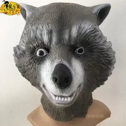 Wholesale Full Latex Hood - 2018 New style Free shipping Rocket Racoon Mask Hood cosplay props for Halloween party Latex Material Full face