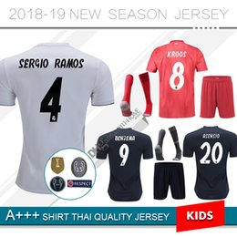 968bc2a64 2018 2019 new real Madrid modric MODRIC Marcelo Third kids Kit soccer  jerseys 18 19 season ASENSIO ISCO RAMOS hazard home football uniform