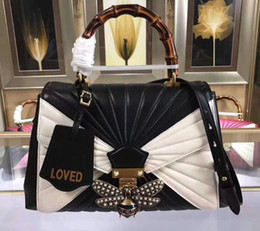 Wholesale Queen Small - AAAAA 476531 32cm Queen Margaret Medium Bamboo Top Handle Bag,Leather ID Holder,Embossed Loved,Metal Bee Pearls Crystals,with Box Dust Bag