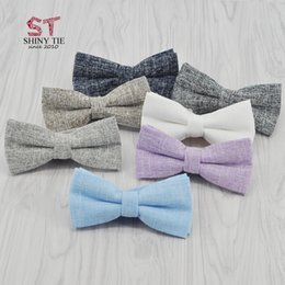 Wholesale Blue Bowties - New Style 10 Colors Handmade Solid Cotton Bowtie Fashion Polyester Soft Skinny Bowties For Men Leisure Butterfly Blue Pink