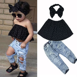 Fasce di couture online-2018 New Summer Porter Bambini Haute Couture Tops Fascia + Jeans strappati Ragazze Apparel Ensemble Hole Boys Vestiti Boy Friend Style