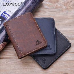 Зрелая кожа онлайн-LAUWOO PU Leather Men Wallet  Leather Wallets Office Male Wallet Mature Man Bifold Small Purse