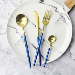 high quality kitchen knife sets Coupons - High quality 304 Stainless Steel Flatware Dinnerware Set Knife Fork Set Tableware Gold Royal Cutlery Kitchen Tool Birthday Gift