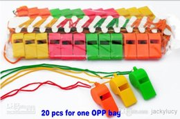 """Wholesale Kids Sports Whistle - New Arrival World Cup Cheerleading Plastic Whistle With Lanyard """"OK"""" Designs Pure Color Whistles Kids Toys Sports Game Accessori"""