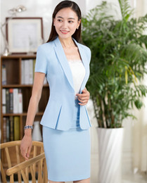 Wholesale Ladies Beige Blazers - Wholesale-2017 Summer Slim Fashion Formal OL Styles Business Suits With Jackets And Skirt For Ladies Office Blazers Uniforms Outfits Set