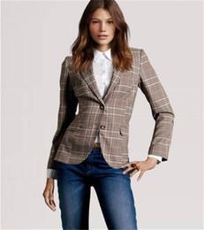 Wholesale Women Stylish Blazers - 2015 New Stylish Women's Plaid Elbow Patches Two Button Slim Fit Blazer Ladies Autumn Suits Basic Jacket Casual Blazer Feminino